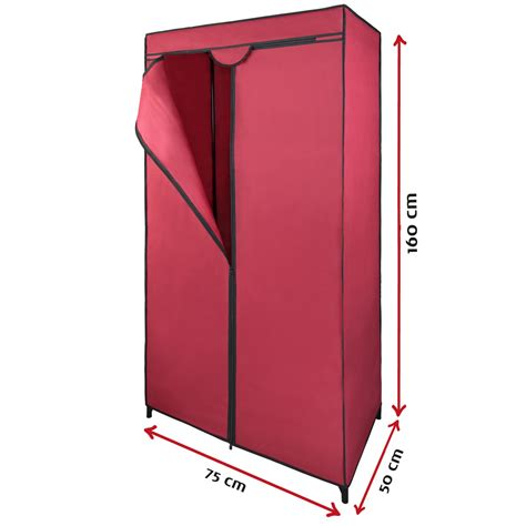 Cupboard Hanging Rail by Single Canvas Fabric Wardrobe 75x50x160 Cm Hanging Rail