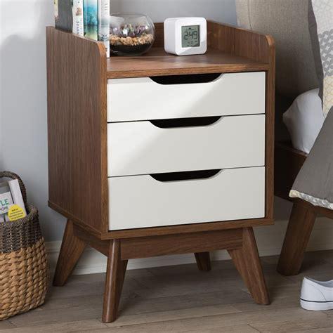baxton studio brighton  drawer white nightstand