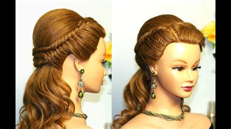 Easy prom hairstyle for long hair with fishtail braids