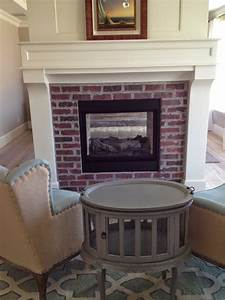 Brick, Fireplaces, With, White, Surround, Mantels