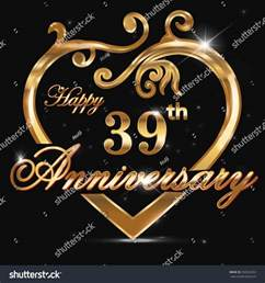 39th wedding anniversary 39 year anniversary golden 39th stock vector 250323202