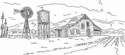 Coloring Farm Pages Drawing Landscape Scene Scenes