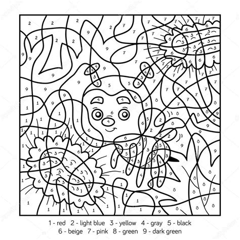 Nummer Kleurplaat by Kleuren Op Nummer Voor Kinderen Met Een Bee Stockvector
