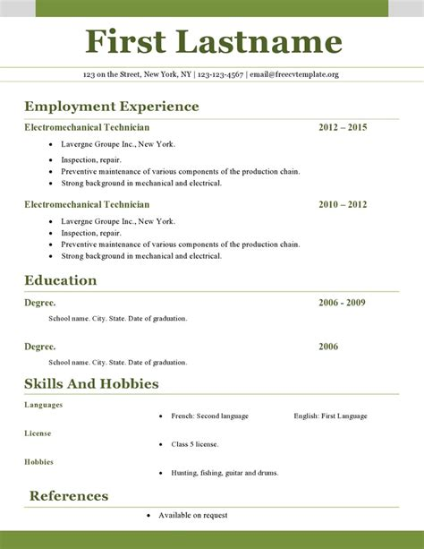 Free Printable Curriculum Vitae Template by Free Resume Builder You Can Email Worksheet Printables Site