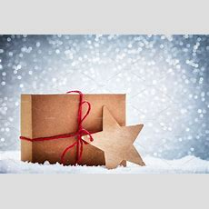 Retro Rustic Christmas Gift, Present In Snow On Glitter