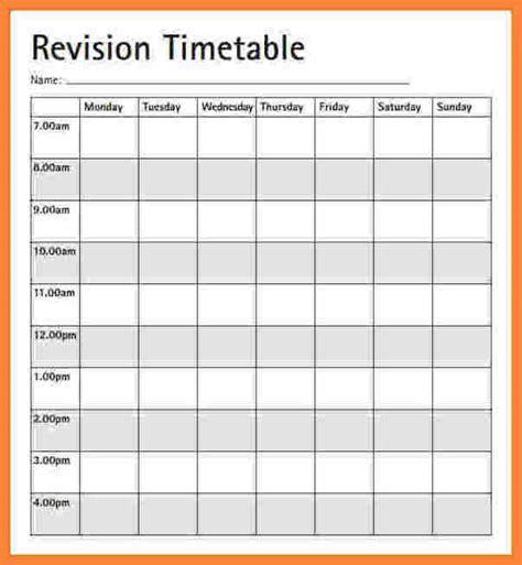 Blank Revision Timetable Template by 5 Blank Revision Timetable Bussines 2017