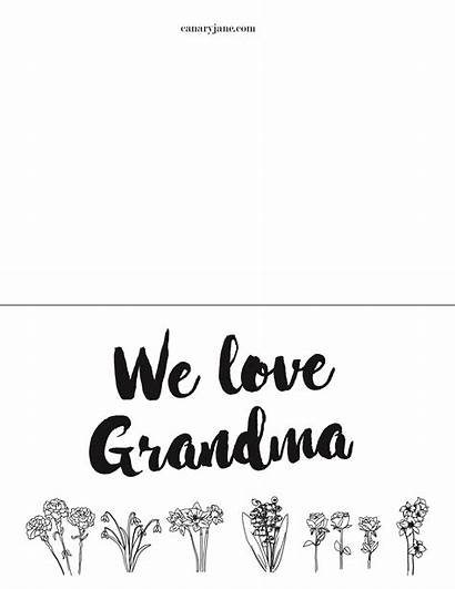 Mothers Grandma Printable Coloring Pages Cards Card