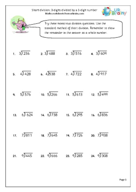 dividing 3 digit numbers by 1 digit numbers worksheet divide 3 digit numbers by 1 digit