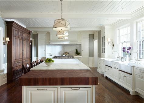 Marble And Butcher Block Countertops by Traditional Home With Classic White Kitchen Home Bunch