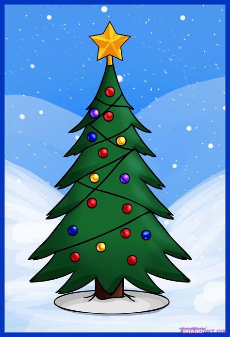 draw  simple christmas tree step  step