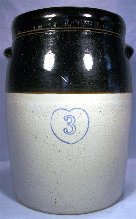 vintage  gal cobalt blue heart stoneware  tone crock