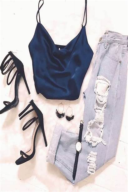 Ripped Jeans Tank Silk Strappy Heels Daily