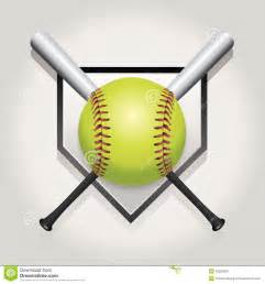 Home Plate Bat and Softball Cliparts