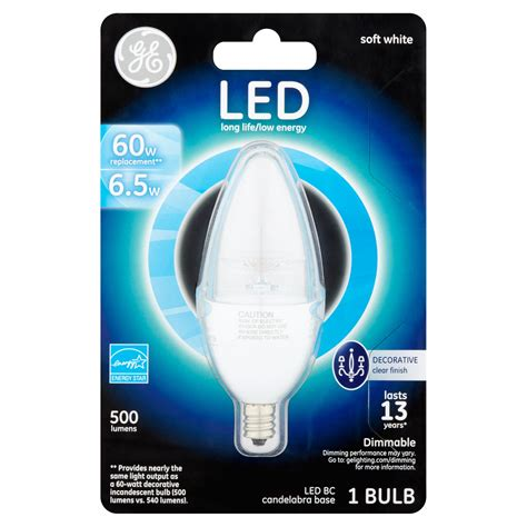 ge led   lumens bc candelabra base soft white bulb walmartcom walmartcom