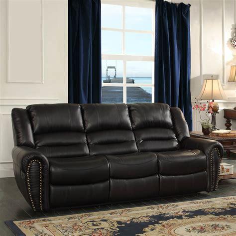homelegance center hill reclining sofa in black