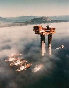 Troll A natural gas platform under tow off the coast of ...