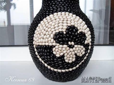 diy decorated vase  black  white beans