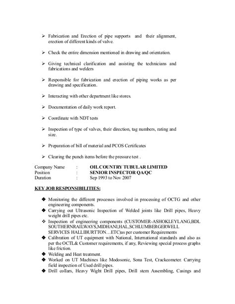 Mechanical Piping Inspector Resume by Cv For Qc Inspector Mechanical