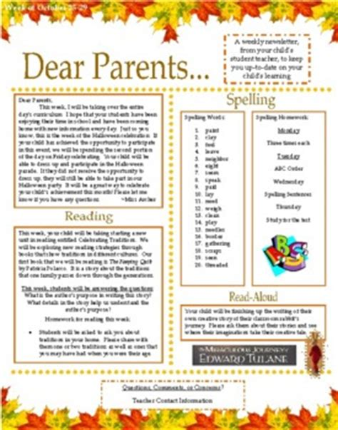 dear parents weekly parentteacher newsletter  megana tpt