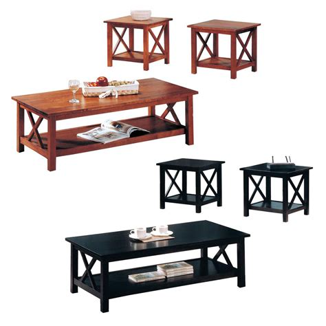 3 coffee table and end tables set f3076 on a contemporary cappuccino oak 3 pc x motif shelf occasional