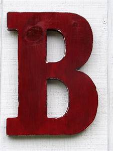 rustic wooden letter b distressed true red 12 tall With wooden letter b