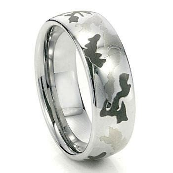 military camouflage mens tungsten carbide wedding ring
