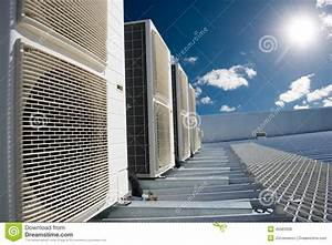 Air Conditioner Units With Sun And Blue Sky Stock Photo ...