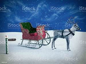 3d, Rendering, Of, A, North, Pole, Sign, And, Reindeer, With, Sleigh, Stock, Photo, -, Download, Image, Now