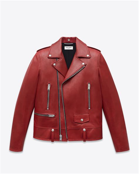 red leather motorcycle jacket saint laurent classic motorcycle jacket in red leather