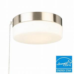 Outdoor ceiling light with pull chain : Hampton bay in brushed nickel led drum flushmount with