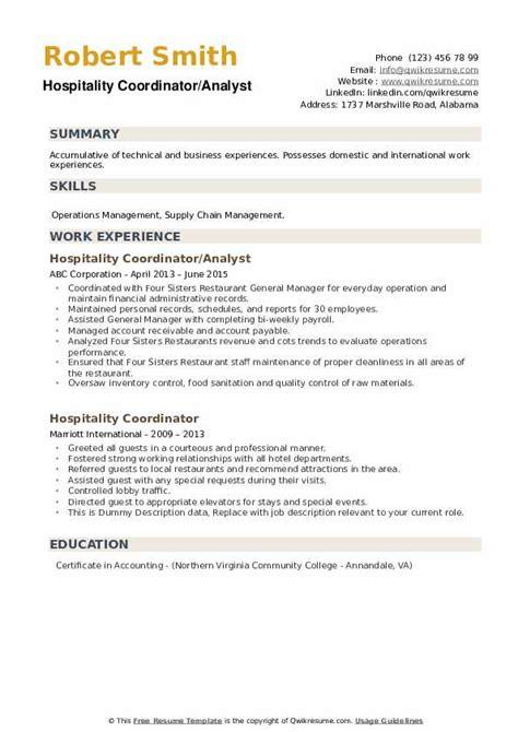 hospitality coordinator resume samples qwikresume
