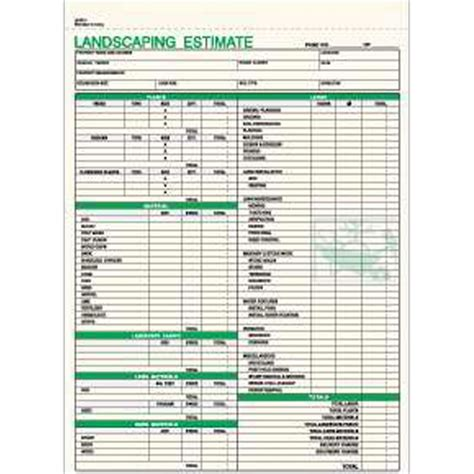landscaping estimate template landscaping estimate form item le 791 1 imprintitems custom printed promotional products
