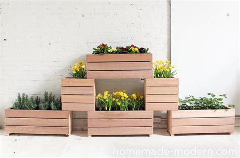 diy wooden planter boxes   yard  patio