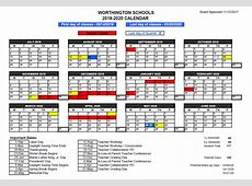 20192020 Worthington School Calendar approved by board of