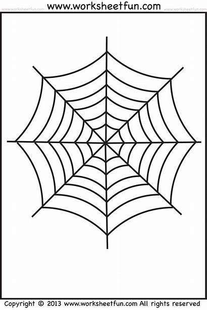 Spider Web Coloring Worksheets Tracing Printable Halloween