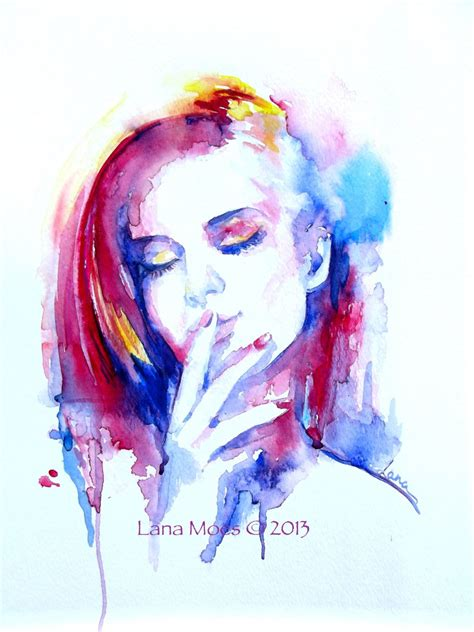 watercolor painting on plexiglass original watercolor painting abstract portrait