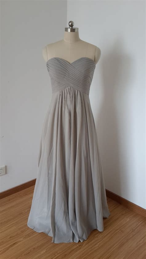 light grey bridesmaid dresses long 2015 sweetheart light grey chiffon long bridesmaid dress