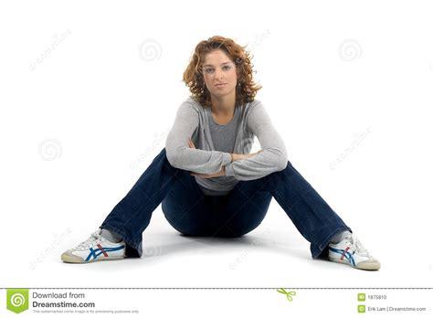 Woman Sitting On Floor Stock Photo  Image 1875810