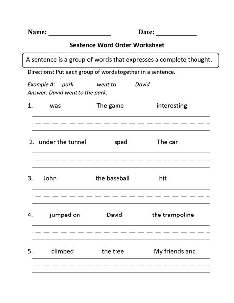 sentence structure worksheets writing word