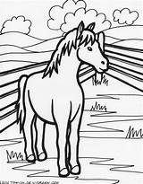 Coloring Farm Pages Horse Colouring Activities Eating Hay Crafts Diy sketch template