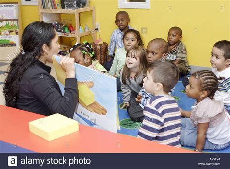 preschool reading a book to class while the 173 | preschool teacher reading a book to her class while the children sit AY51Y4