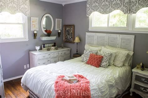 gray  coral bedroom makeover
