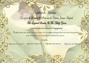 certificat mariage mariage certificat de mariage