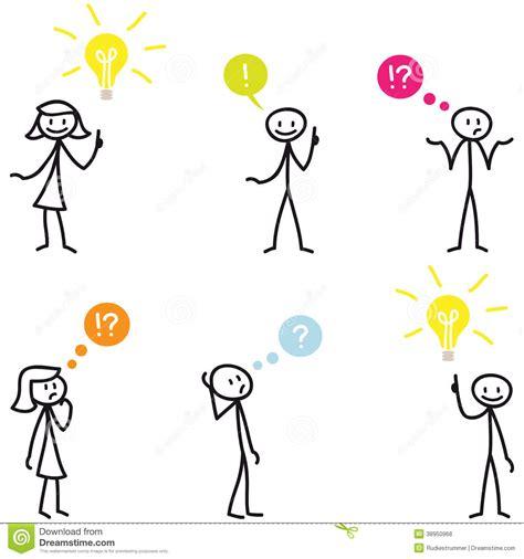 Stickman Stick Figure Light Bulb Idea Question Stock