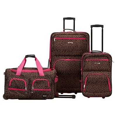 rockland spectra 3pc luggage set pink leopard multi