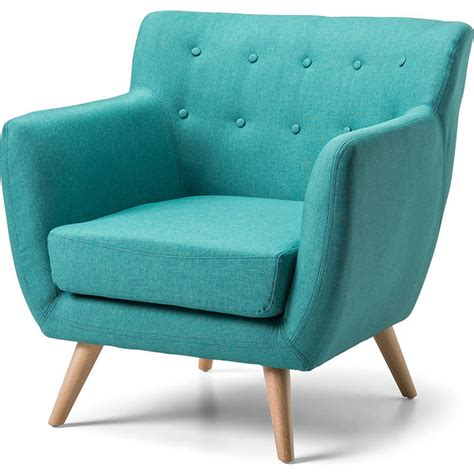 Scandinavian Retro Fabric Lounge Armchair In Teal Buy