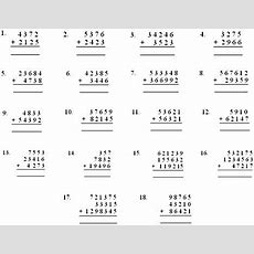 Worksheet On Addition  Exercise Sheet On Addition  Write In Columns And Add