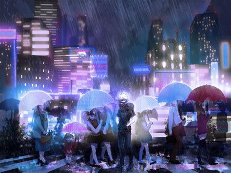anime girl rain iphone wallpaper anime series tokyo ghoul rain city wallpaper 2000x1500