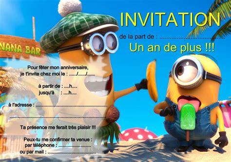 5 ou 12 cartes invitation anniversaire LES MINIONS réf 250 ...