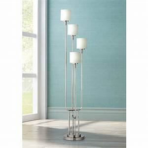 brushed steel and frosted glass light tree floor lamp With trac tree brushed steel 3 light floor lamp